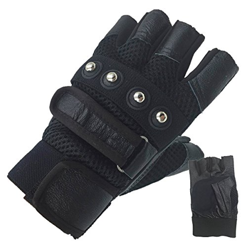 Hongye Men's Soft Sheep Leather Motorcycle Biker Fingerless Gloves (Motorcycle Leather Goods)