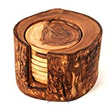 SALE! Olive Wood Rustic Coaster Set of 8 and Holder, Wooden Handmade Coasters Review