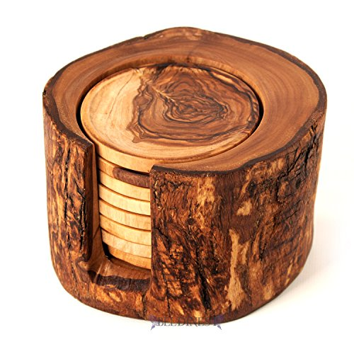 Olive Wood Rustic Coaster Set of 8 and Holder, Wooden Handmade Coasters by BeldiNest