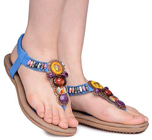 bohemien Sandales Femmes Tongs Bleu Odema Plage elastique Gemme strap T Boho Ete Strass plates TE6Pawq