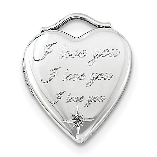 Sterling Silver Diamond I Love You 20mm Heart Locket ()