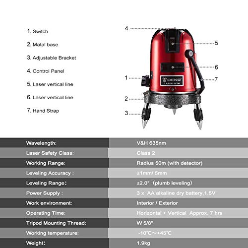 Laser Level Tool Self Leveling Laser 5 Line 6 Point 360°Rotary Kit Vertical and Horizontal Cross-Line Laser Levels with Outdoor Mode and Tilt Mode by DEKOPRO (Image #2)