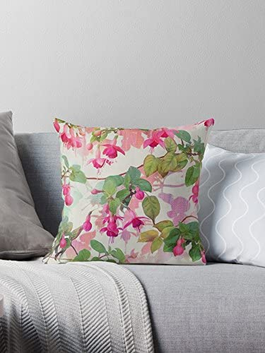 STITCHNEST Exquisite Rainbow Fuschia Floral Pattern Print Satin Cushion Cover For Modern Home Decor Bedroom Botanical Look Perfect Chic Themed