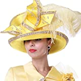 Kueeni Women Wedding Hat Church Hats Mother of The Bride Hats Yellow (Yellow Color)