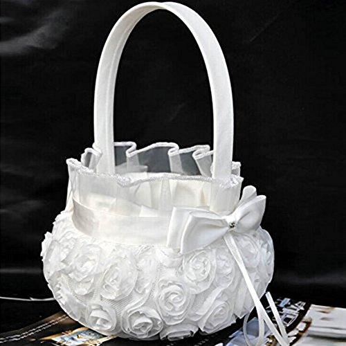[2016 Wedding Ceremony Party Love Case Satin Bowknot Rose Flower Basket for Women Girl DIY Home Decoration Storage Bag] (2016 Womens Halloween Costumes Diy)