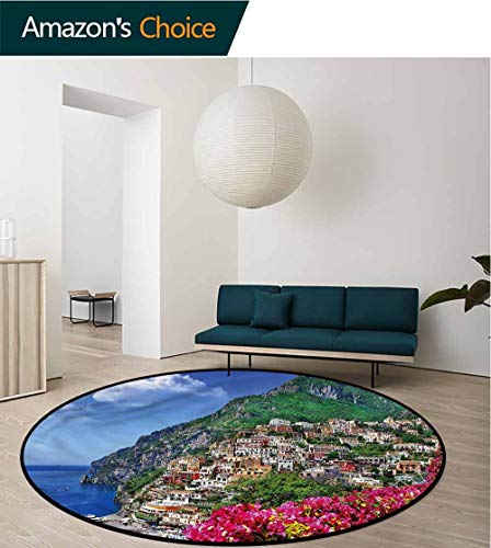 Italy Round Area Rugs Super Soft Living Room,Positano Amalfi Naples Non-Slip No-Shedding Kitchen Soft Floor Mat Round-35 Amalfi Modern Blue Rug