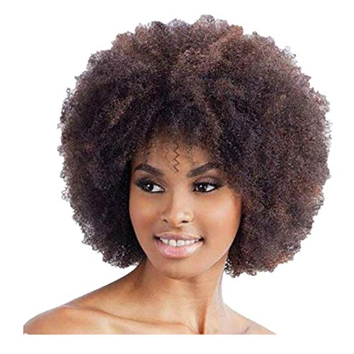 Dumanfs Brown Synthetic Curly Wigs For Women Short Afro Wig African Brazilian American -