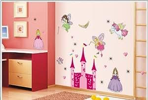 Kappier Fairy Tale Princess and Castle Nursery/Kids Room Peel & Stick Wall Decals