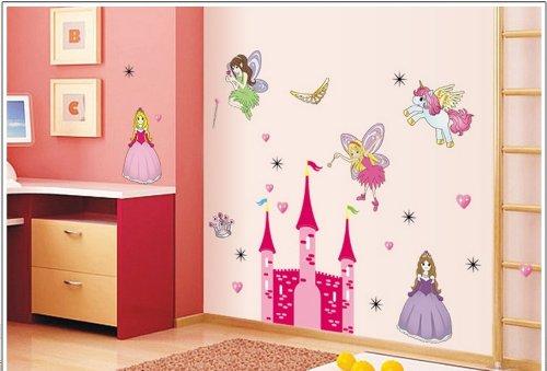Kappier Fairy Tale Princess and Castle Nursery/Kids Room Peel & Stick Wall -