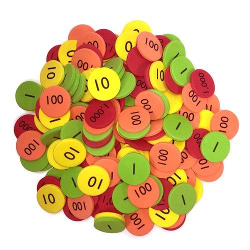 EAI Education QuietShape Foam Place Value Disks Ones to Thousands: Set of 160 ()