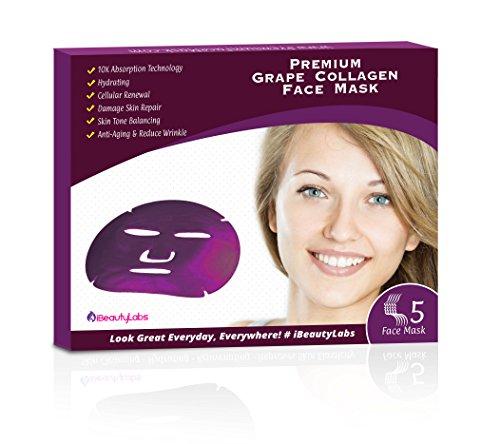 Phenomenal Boosting Korean Grape Collagen Face Mask for Natural Anti-aging Properties, Blackhead Treatment | Skin Tone | Anti Bacterial Acne/Pimple. (Grape Face Mask)