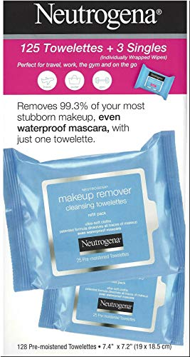 Neutrogena Makeup Remover Cleansing Towelettes, Daily Face Wipes to Remove Dirt, Oil, Makeup & Waterproof Mascara, 25 ct (5 pack + 3 Bonus Pouches) 2