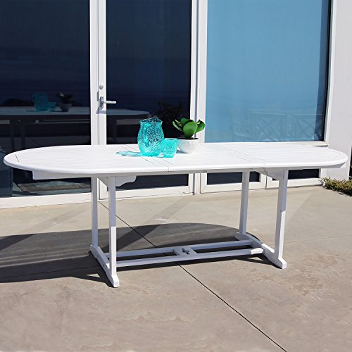 (Vifah V1335 Bradley Outdoor Wood Oval Extension Dining Table)
