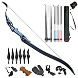 Tongtu 55' Takedown Recurve Bow Set Aluminum Alloy Riser Archery Hunting Bow and Arrows with Professional Accessories Kits 30 35 40 45 50 Lbs Right Hand (30 pounds)