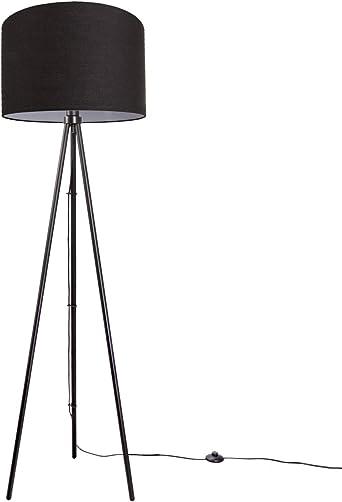 Led Stehlampe Modern Wohnzimmer Schlafzimmer Dreibein Deko Stehleuchte E27 Lampenfuss Dreibeinig Schwarz Lampenschirm Schwarz O45 5 Cm Amazon De Beleuchtung