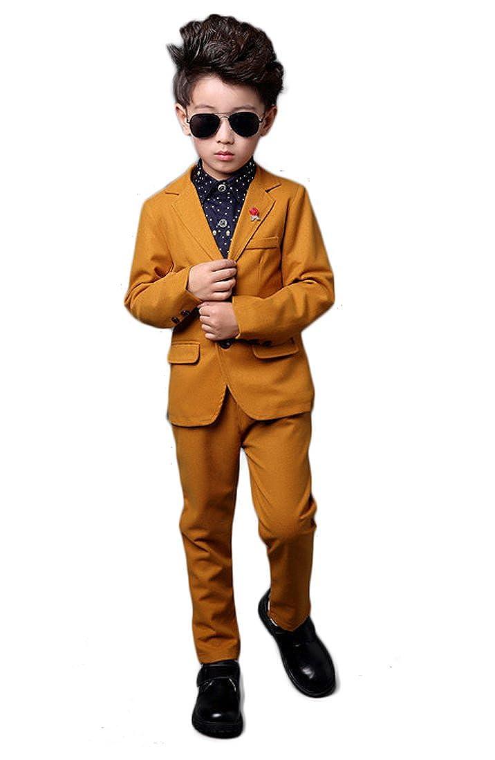 YUFAN Boys Yellow Suits Blazer /& Pants 2 Pieces