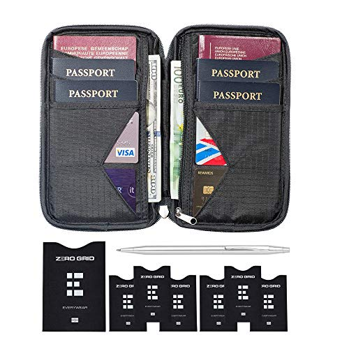 Travel Wallet & Family Passport Holder w/RFID Blocking- Document Organizer Case (Shadow) ()