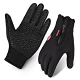 Cycling Gloves, Waterproof Touchscreen in Winter Outdoor Bike Gloves Adjustable Size- Black (Medium)