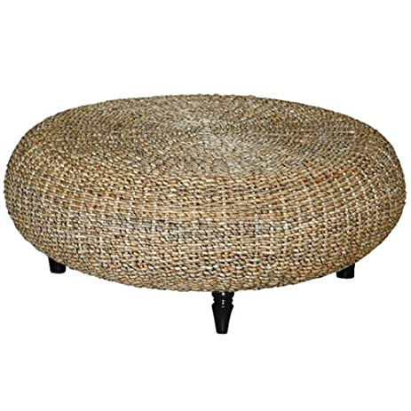 Etonnant Riau Round Woven Abaca Coffee Table W Wood Spool Legs