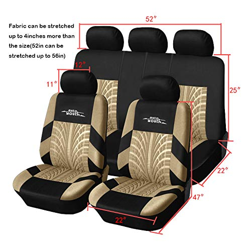 AUTOYOUTH Car Seat Covers Universal Fit Full Set Car Seat Protectors Tire Tracks Car Seat Accessories - 9PCS,Beige by AUTOYOUTH (Image #4)