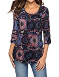 Bebonnie Womens Tops Plus Size 3/4 Sleeve Tunics for Leggings, Long Sleeve Buttons Floral Flowy Pleated Fall Shirts Blouse Multicolor Black XXL