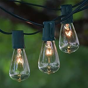 vintage string lights 50 ft green c9 wire clear vintage bulbs garden outdoor. Black Bedroom Furniture Sets. Home Design Ideas