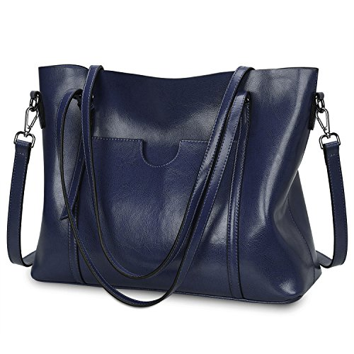 S-ZONE Women Genuine Leather Top Handle Satchel Daily Work Tote Shoulder Bag Large Capacity (Blue)