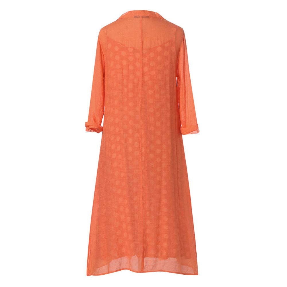 Women's Maxi Dresses Long Sleeve Polka Dot Printed Cotton Linen Casual Loose Cardigans 2-Pieces Long Dress Plus Size Red by Qiujold Women's Tops (Image #4)