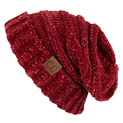 Funky Junque H-6100-85064 Oversized Slouchy Beanie - Chenille Burgundy