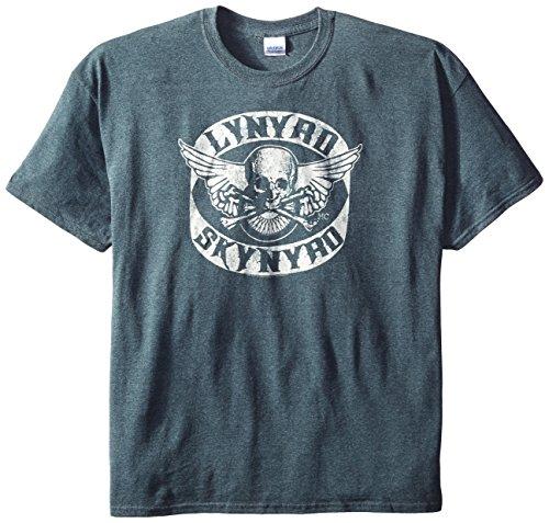 FEA Men's Lynyrd Skynyrd Logo Biker Patch T-Shirt, Charcoal Heather, 2X-Large (Biker Logo T-shirt)