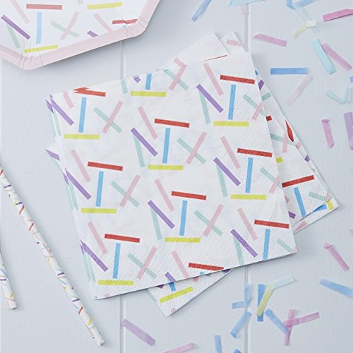 Paper Napkins Rainbow Party Birthday Party Baby Shower 1st Birthday 6.5'' Rainbow Sprinkles Pk 32 by Ginger Ray