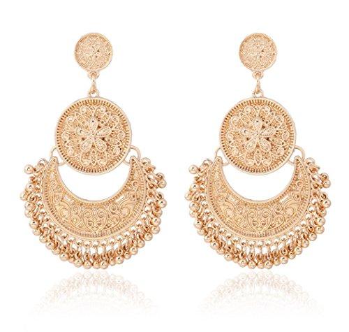 YSJOY Womens Bohemian Ethnic Fashion Jewelry Bead Earrings KC Plated Gold Pierced Multi-Drop Earrings