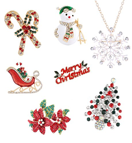 Boderier Christmas Xmas Holiday Snowflake Sled Snowman Brooches Pin Jewelry Gift (7pcs/set) ()