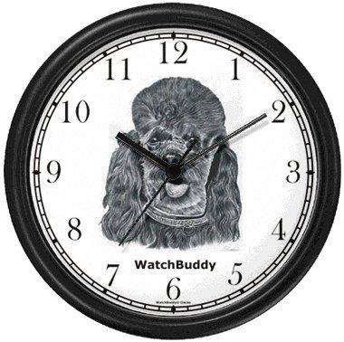 Juguete de caniche perro reloj de pared de relojes WatchBuddy (marco negro)