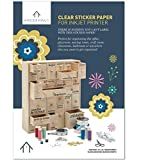 HYGGEHAUS Clear Sticker Paper for Inkjet Printer - Full Page Labels 8.5 x 11 in for Storage. Clear Printable Contact Paper for Craft and Home or Office DIY Labelling Projects. 10 Sheets