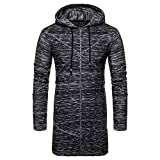 Binmer Clearance Men's Hooded Solid Knit Trench Coat Jacket Cardigan Long Sleeve Outwear Blouse (M, Black)