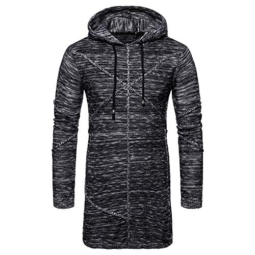Faionny Mens Hooded Jacket Solid Knit Coat Long Cardigan Coat Knitsweater Poket Knitwear Trench Coat Winter Outwear by Faionny