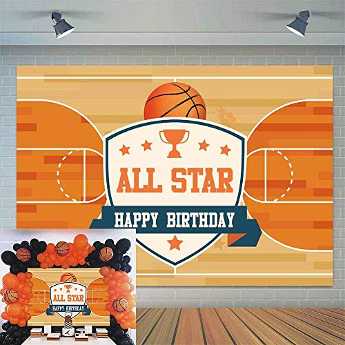 (Allenjoy 7x5ft All Star Basketball Court Boys Birthday Party Backdrop Kids Sport Themed 1st Bday Photography Background Cake Table Decoration Banner Photo Booth)