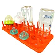 The Elixir Eco Green Countertop Baby Bottle Holder Drainer Drying Rack, Antibacterial Hygienic, Orange