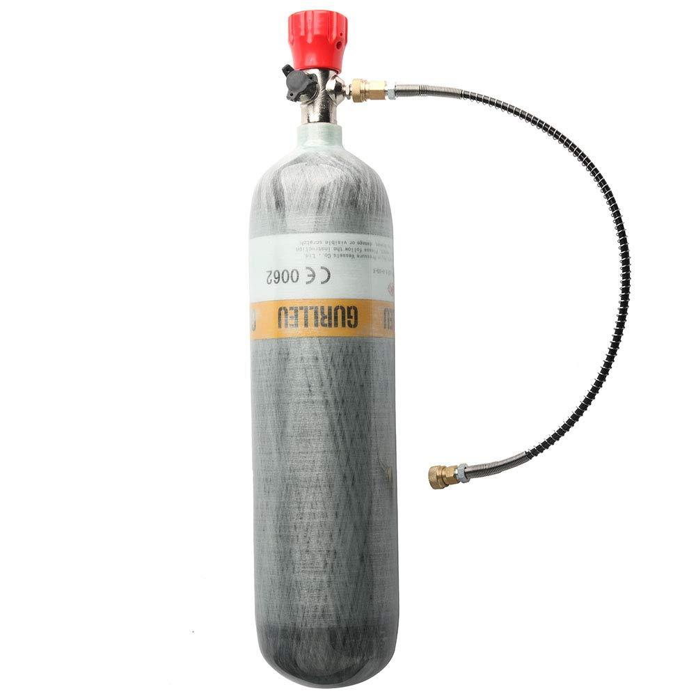 IORMAN 3L 4500psi Carbon Fiber Air Tank & Fill Station for PCP Paintball Scuba SCBA(Empty Bottle) (Red Valve Set) by IORMAN
