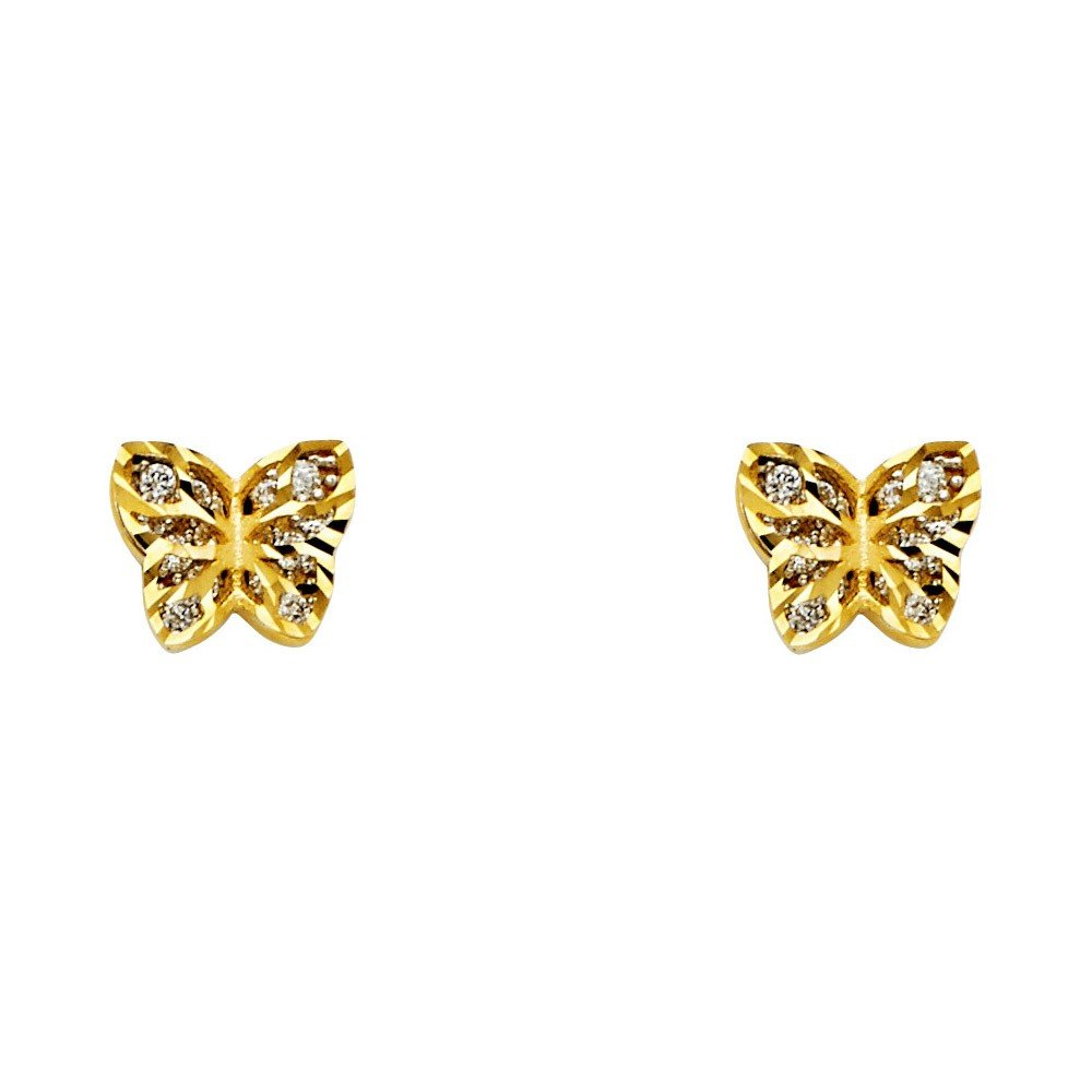 14k Yellow Gold Small Butterfly Stud Earrings