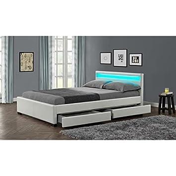 Unbekannt Stellar Bett Erwachsene Schubladen Led 160 X 200 Cm Weiss