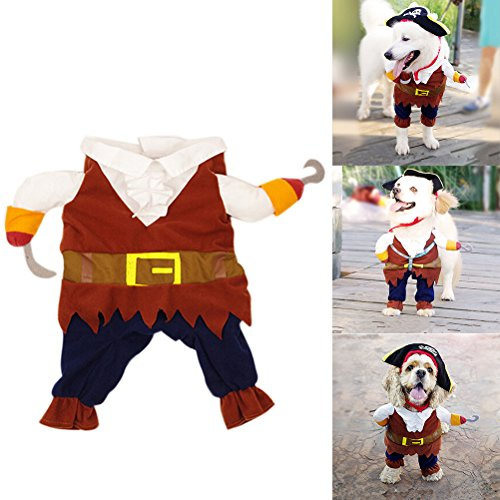 [1 Pcs Pet Small Dog Cat Pirate Costume Outfit Jumpsuit Clothes for Halloween Christmas By] (Halloween Outfits For Dogs)