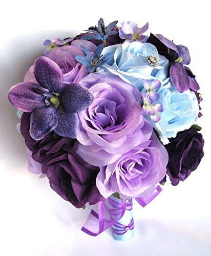Amazon Com Wedding Bouquets Bridal Silk Flowers Purple Light Blue