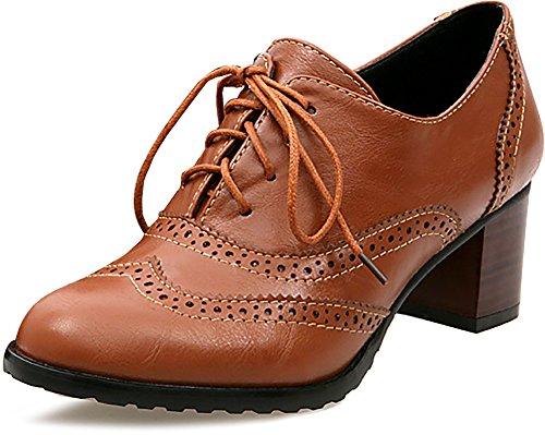 Odema Women Brogue Pumps Wingtip Lace-Up High Heel Oxfords Shoes