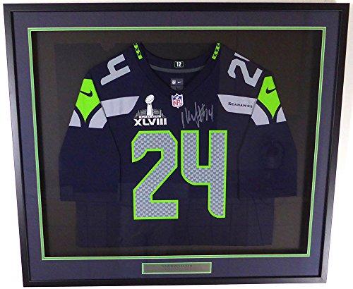 Seattle Seahawks Marshawn Lynch Autographed Framed Blue Nike Jersey With SB XLVIII Patch ML Holo ()