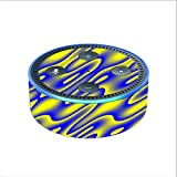 Skin Decal Vinyl Wrap for Amazon Echo Dot 2 (2nd generation) / Neon Blue Yellow trippy