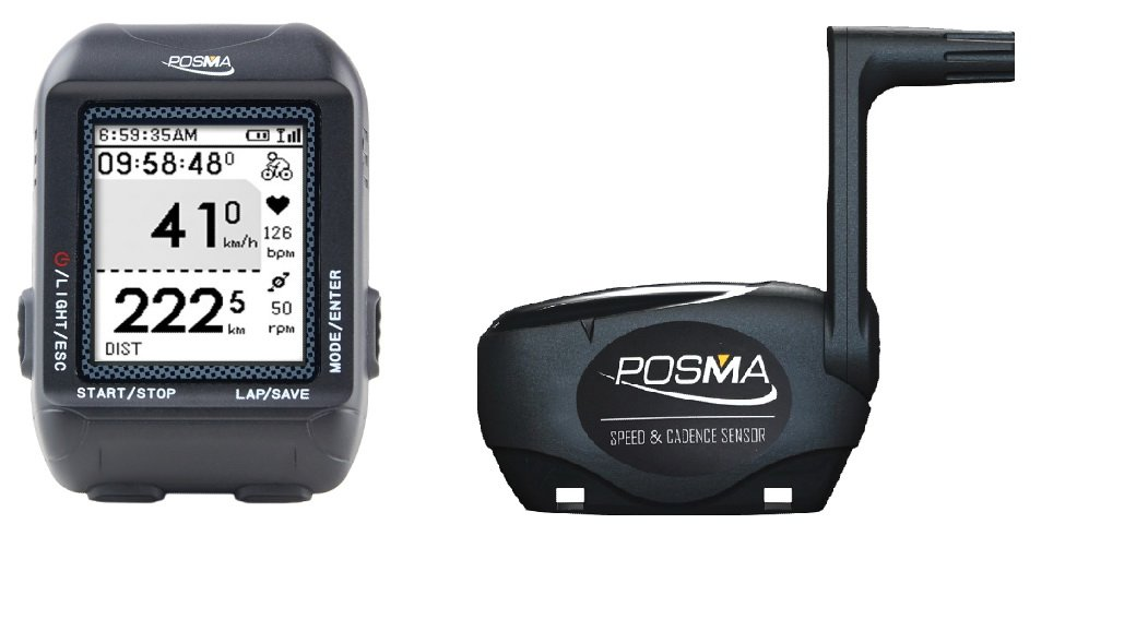 POSMA D2 GPS Wireless Cycling Bike Computer Speedometer Odometer Bundle with BCB20 Speed/Cadence Sensor support Navigation, ANT+ connection, GPX file upload to STRAVA and MapMyRide