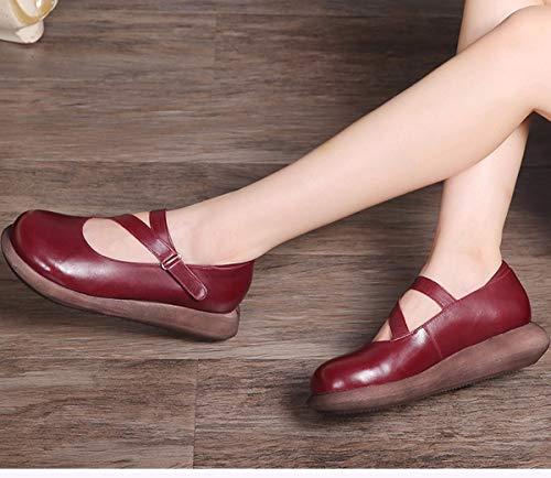 Cuir Bas À Fond Chaussures Huit Vin Les Chaussures Petite Chaussures Trente Muffin Bouche Épais Chaussures en Automne pour KPHY Plat Rouge Femmes Cm Les Femmes qaXwz7B8n