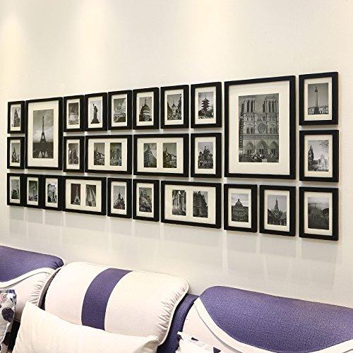 ZZZSYZXL Massivholz-Foto Wall 26 Stück Set Wohnzimmer kreative Kombination Fotowand , black